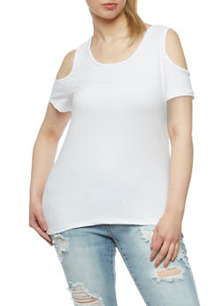 Plus Size Solid Cold Shoulder Top - WHITE - 0915060580006