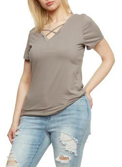 Plus Size Caged V Neck T Shirt - 0915060580051