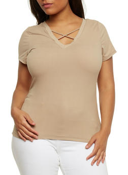 Plus Size Caged V Neck T Shirt - 0915060580051