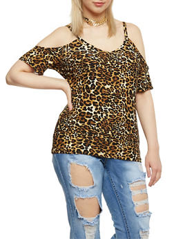 Plus Size Cheetah Print Cold Shoulder Top - 0915060581317