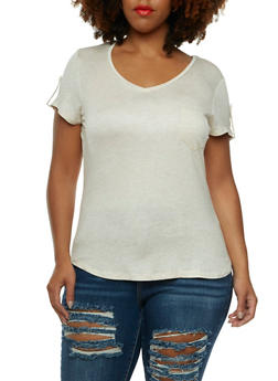 V-Neck T-Shirt with One Bust Pocket - 0915073090302