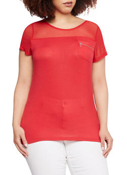 Plus Size Top with Mesh Trim and Zipper Pocket - 0915073090313