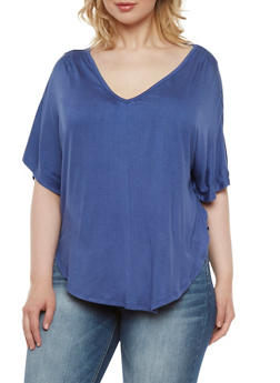Plus Size Circle Top with Crochet Panel - 0915073090326
