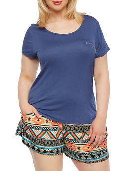 Plus Size T-Shirt with Zipper Detail - 0915073090372