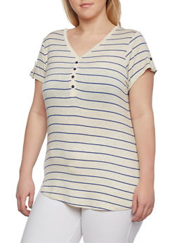 Plus Size Striped Henley V-Neck Top with Button Tab Sleeves - 0915073090373