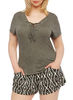 Plus Size Tunic Top with Lace-Up Neckline - 0915073090381