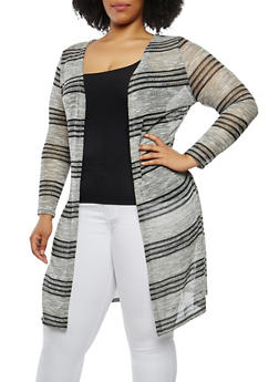Plus Size Striped Shimmer Knit Duster - 0915074280325