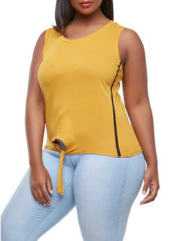 Plus Size Side Striped Tie Front Tank Top - 0916033872265