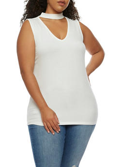 Plus Size Rib Knit Choker Neck Tank Top - WHITE - 0916054269650