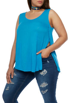 Plus Size Double Slit Flowy Tank Top - 0916058930408