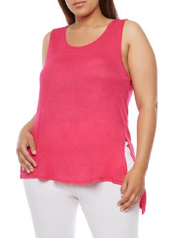 Plus Size Solid High Low Tank Top - 0916058930409