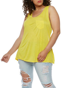 Plus Size Racerback Tank Top with Elastic Detail - 0916058930412
