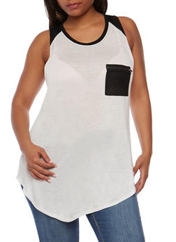Plus Size Sleeveless Color Block Tunic Top with Zip Pocket - BLACK/WHITE - 0916058930413