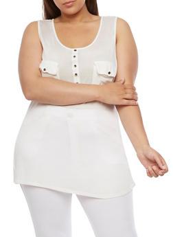 Plus Size Sleeveless Half Button Tank Top - WHITE - 0916058930414