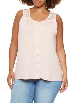 Plus Size Trapeze Top with Lace Paneling and Bust Ruching - 0916072891103