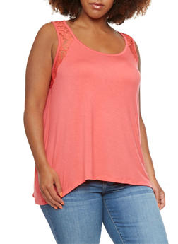 Plus Size Trapeze Top with Crochet Accent Paneling - 0916072891104