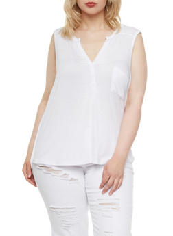Plus Size Pocket Tank Top with Henley Buttons - 0916072891225