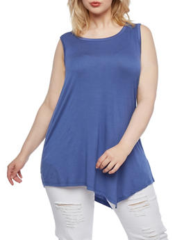 Plus Size Sleeveless Tunic Top with Subtle Handkerchief Hem - 0916072891226