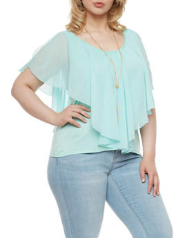 Plus Size Cold Shoulder Blouse with Removable Necklace - 0925070472577