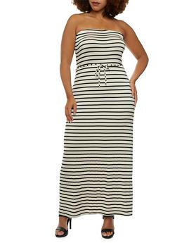 Plus Size Strapless Maxi Dress in Stripes - 0930020626705