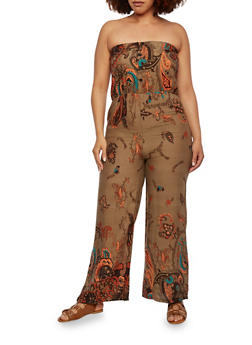 Plus Size Strapless Jumpsuit with Ornate Print - 0930073050936