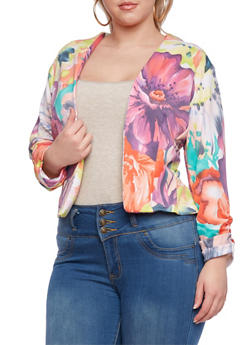 Plus Size Floral Print Blazer with Ruched Sleeves - 0932020623568