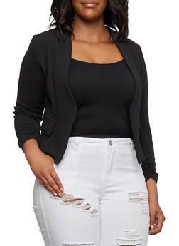 Plus Size Textured Knit Blazer with Faux Flap Pockets - 0932020626568