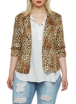 Plus Size One Button Blazer with Leopard Print - 0932062700024