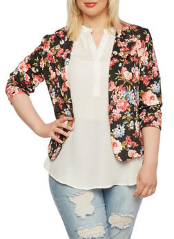 Plus Size Scuba Knit Blazer with Rose Print and Notched Lapel - 0932062700243