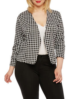 Plus Size Printed Blazer with Ruched Sleeves - BLACK   1449-DU949 - 0932062704742