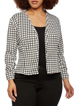 Plus Size Printed Blazer with Ruched Sleeves - WHITE   1449-DU949 - 0932062704742
