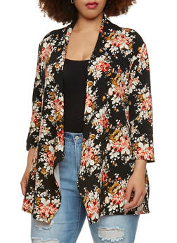 Plus Size Open Front Cardigan in Floral Print - 0932062705119