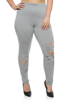 Plus Size Slashed Knit Leggings - 0951058930520