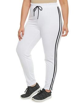 Plus Size Varsity Striped Sweatpants - WHITE-BLACK - 0951058930620