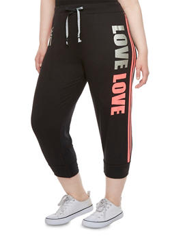Plus Size Graphic Striped Joggers with Love Print - 0951063400004
