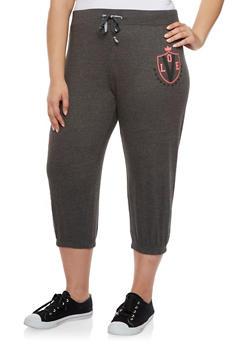 Plus Size Capri Sweatpants with Love Graphic - 0951063402271