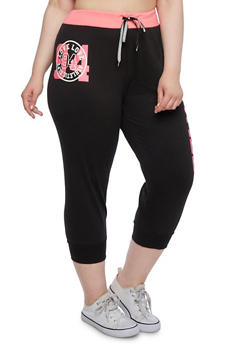 Plus Size Capri Joggers with Love Graphic - 0951063402781