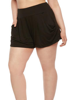 Plus Size Draped Shorts with High Waist - 0960001440138