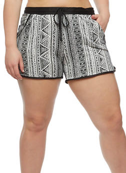 Plus Size Printed Shorts with Drawstring Waist - 0960001441214