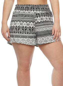 Plus Size Printed Smocked Waist Shorts - 0960001441281