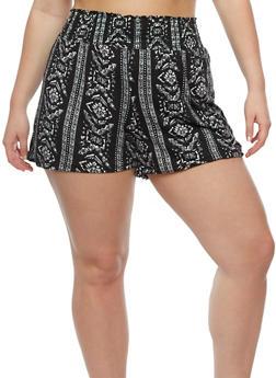 Plus Size Printed Smocked Waist Shorts - 0960001441283