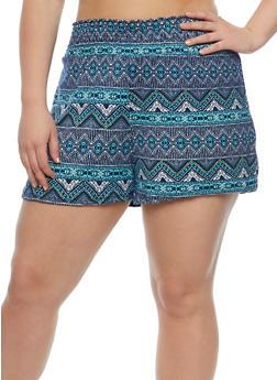 Plus Size Printed Smocked Waist Shorts - 0960001441284