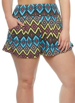 Plus Size Diamond Print Shorts - 0960001443811