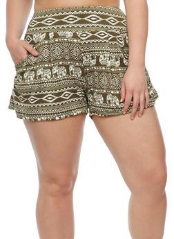 Plus Size Elephant Print Shorts - 0960001443817