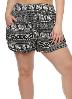 Plus Size Elephant Print Shorts - 0960001443818
