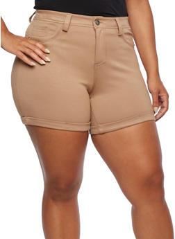 Plus Size Five Pocket Knit Shorts - 0960060582860