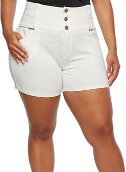 Plus Size High Waisted Ponte Shorts - 0960060589049