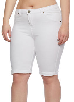 Plus Size Cuffed Jegging Bermuda Shorts - 0960062701171