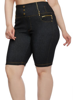 Plus Size Jegging Shorts with Metallic Zip Accents - 0960072716219