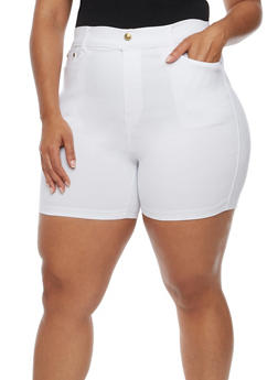 Plus Size Denim Bermuda Shorts - WHITE - 0960072717516